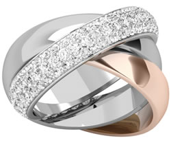 Purely Diamonds Ladies 3 Band Russian Wedding Ring crafted in 18ct white and rosae gold PD765WR