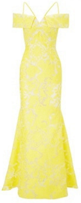 Roland Mouret Denby Gown Yellow and White Brocade