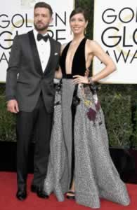 Justin Timberlake and Jessica Biel Golden Globe Awards 8 jan 2017