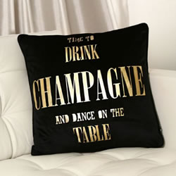 Pink Boutique Black Velvet Drink Champange Dance Black velvet Cushion
