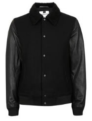 Topman Bomber Jacket Wool Shearling and Leather Contrast