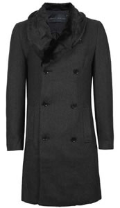 Topman Crimnal damage Faux Fur Collar Coat