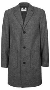 Topman Grey Salt & Pepper Overcoat