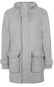 Topman Grey Wool Blend Parka