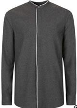 Topman Grey white trim stand collar shirt