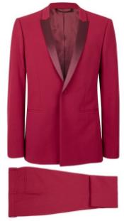 Topman Red Skinny Fit Tuxedo Suit