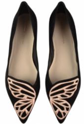 Sophia Webster Bibi Butterfly Black flat suede shoes