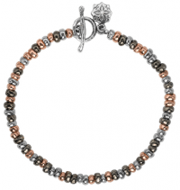 Fashion Jewellery multi nugget bracelet sterling silver mixed rose black gold vermeil Nomad style