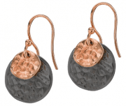 Fashion Nomad Earrings 18ct Rose and Black Gold Hammered from Sterling Silver