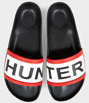 Hunter Slides in black with iconic logo