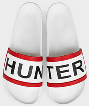 Hunter Slides in white with bold iconic logo