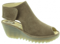 Fashion Footwear Fly London Yone Wedge Sandals in taupe suede