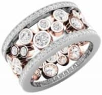 Wedding Jewelley modren dress ring 18ct rose and white gold brilliant cut diamond set