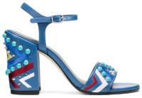 Fashion Stuart Weitzman BOTH embellished block heeled sandals multi hues