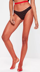Red Oversized Fishnet Tights