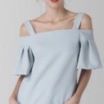 Fashion Closet London pale blue off shoulder ruffle sleeved top