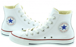 Fashion white leather Converse Hi tops footwear