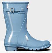 Hunter Original Short Gloss Pale Blue Wellington Boots