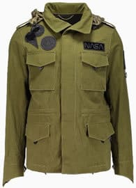 Choice Coach multi badge military jacket in olive