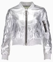 Off White Silver Leather Bomber Jacket