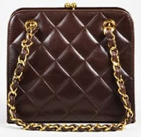 Chanel Vintage Brown Leather Quilted Bag Pre owned