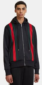 Gucci striped hooded bomber jacket
