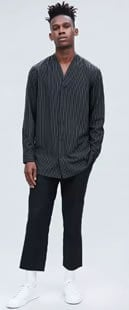 Black Pinstriped Woven Lomg Sleeved Baseball Style Shirt
