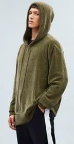 Mennace Khaki Montana Chenille Oversized Knitted Hoodie