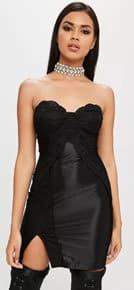 carli bybel x missguided black lace side dress