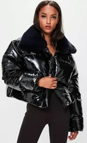 missguided x londunn black vinyl padded jacket
