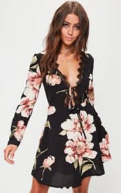 Missguided black long sleeved floral lace dress