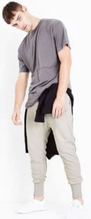 Stone panelled drop crotch jersey joggers