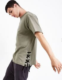 Olive green T-Shirt green lace-up sides menswear