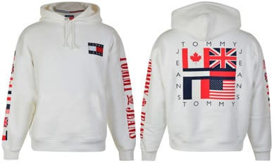 Tommy Jeans Bright White Hooded Flag Sweatshirt