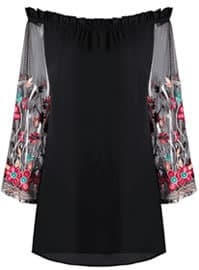 Zafuk Embroidered Sheer Sleeve Top