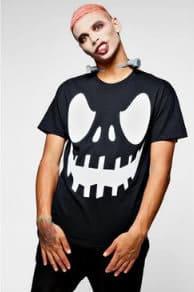 Halloween Mens T Shirt Scary Pumpkin face on black