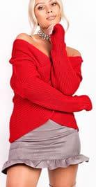 Josie Wrap Knit Jumper in Red