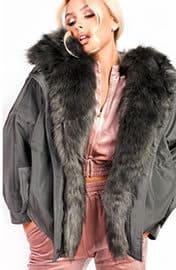 Vivienne Oversized Faux Fur Hooded Jacket in Grey