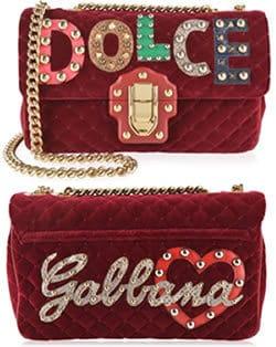 Dolce and Gabbana large velvet Lucia bag