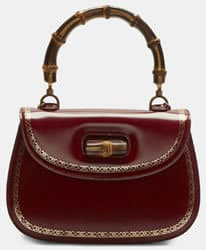 Gucci Red Leather Handbag Bamboo Handle and Striped Deatachable Strap