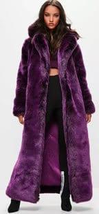 londunn x missguided long purple faux fur coat