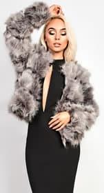 iKrush Cruiz Faux Fur Jacket in Grey