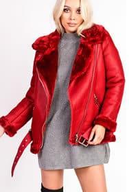 Kiara Faux Shearling Red Wine Biker Style Oversized Jacket