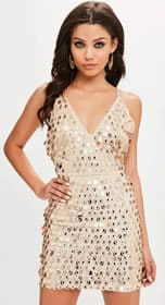 missguided Gold Strappy Plunge Midi Dress