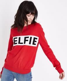 Elfie Christmas Slogan Women's Clothing Red Jumper