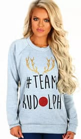 Pink Boutique Team Rudolph Grey Christmas Jumper