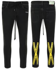 Cruise OFF WHITE Fire Tape Skinny Jeans back and front