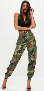 Khaki Cargo Camo Print Trousers
