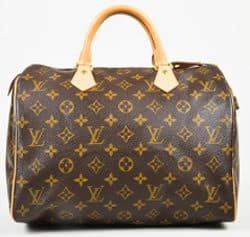 Louis Vuitton Brown Beige Monogram Canvas Leather Top Handle Bag