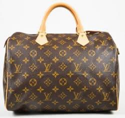 Louis Vuitton Brown Beige Monogram Canvas Leather Top Handle Bag